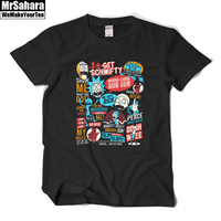 Summer New Anime Cool Rick Morty Print Men T Shirt Peace Among Worlds Folk T