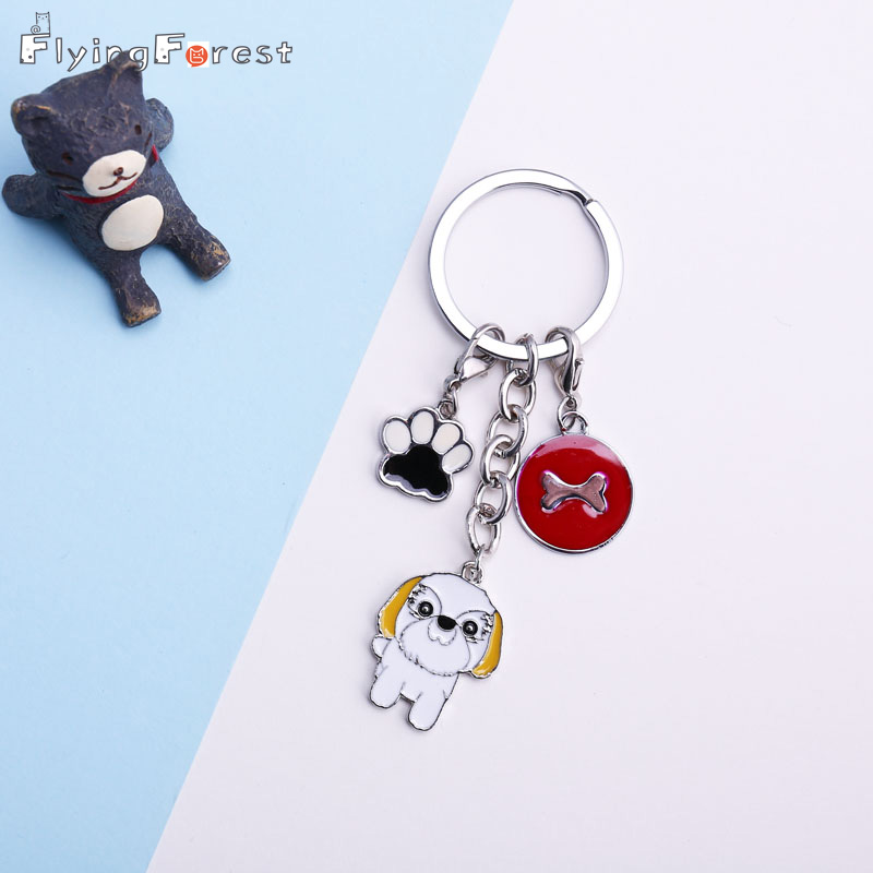 Keychain  Jewerly Shih Tzu Dog Pendant Key Chains For Women Men Girls Silver Metal Alloy Pet Dog Bag  Key Ring Holder Charm Car