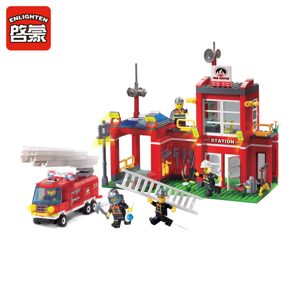 Models Building Toy 910 Rescue Fire Station Branch 380pcs Building