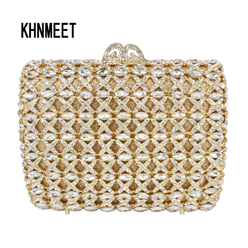 Luxury Diamond Gold Evening Clutch Bag Sac Soiree Party Purse Pochette Candy Rhinestone Red Ladies Wedding Day Clutches SC294