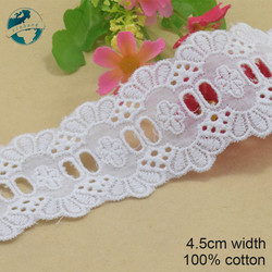 5yards 4.5cm cotton white embroided lace ribbon dolls trim fabric DIY wedding Accessories supplies african lace applique #3536