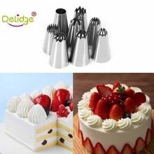 Delidge 8 pcs/set Large Size Cake Nozzle Kitchen Accessories Cream Icing Piping Sugarcraft Rose Decorating Tools