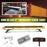 47inch 88W Car LED Flash Emergency Beacon Light 88LED Response Strobe Light Amber/White For Car Truck Vehicle