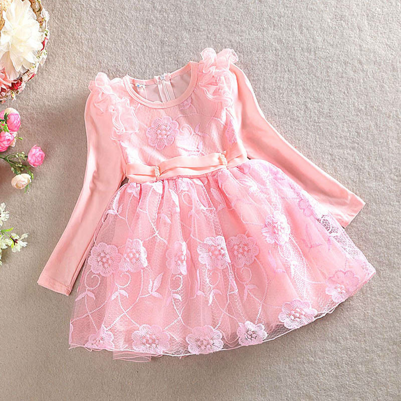 Girls Long Sleeve Lace Dresses Baby Princess Dress Cotton Kids Autumn Flower Dresses Girl Toddler Christmas Party Clothing 1-7Y new 2017 baby girls ruffle sweater dress kids long sleeve princess party christmas dresses autumn toddler girl children clothes