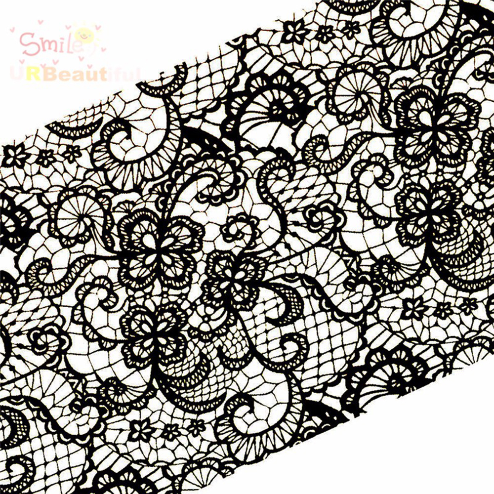 Image 2 - 100cmx4cm New 2019 Black Lace Transfer Foil Nail Art Sexy Full Wraps Flower Glue Adhesive DIY Manicure Styling Tools BELB03-in Stickers & Decals from Beauty & Health