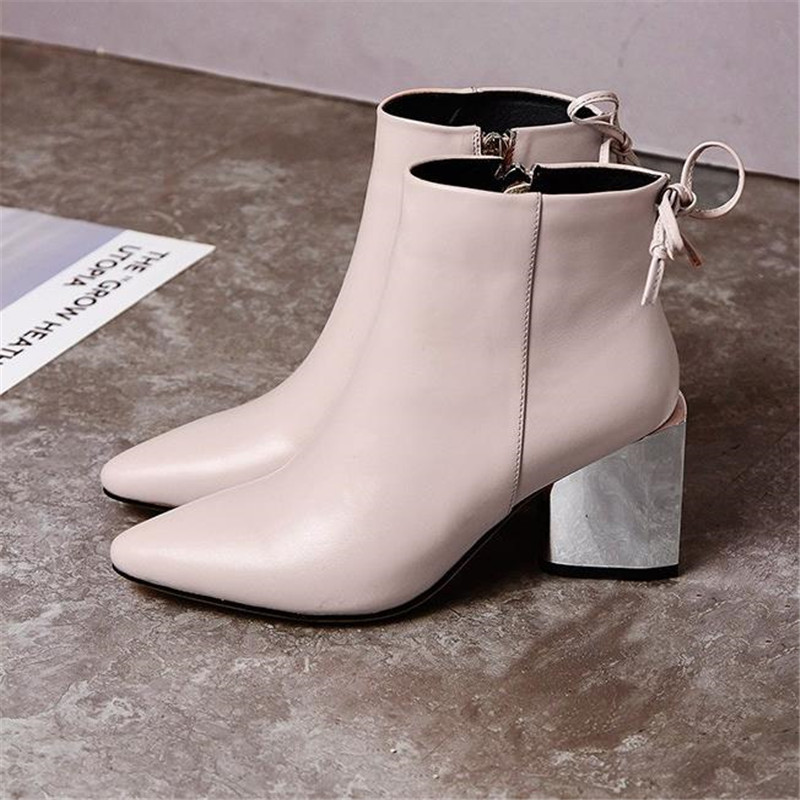 Fashion genuine leather women's shoes autumn women's boots fashion pointed toe thick heel boots footwear
