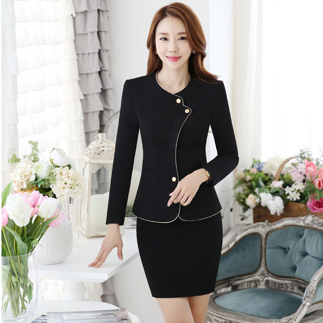Formal OL Styles Elegant Black Spring Autumn Slim Fashion Professional Work Suits With Jackets And Skirt Beauty Salon Blazers