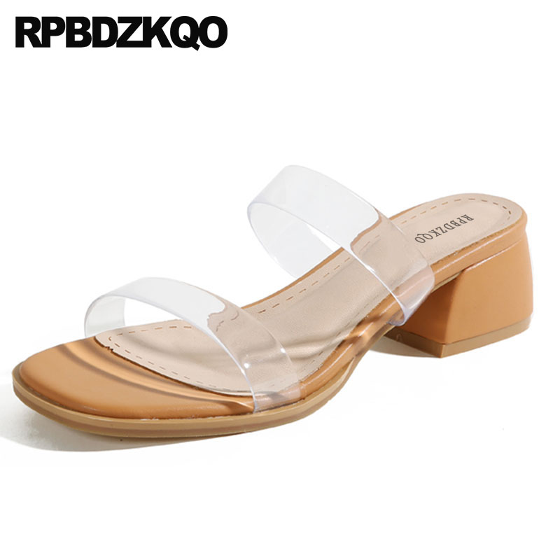 fbb28ebc2 Plastic Thick Designer Pvc Rubber Women Clear Strap Heels Runway Slides  Pumps Shoes Square Sandals Transparent Chunky Slippers