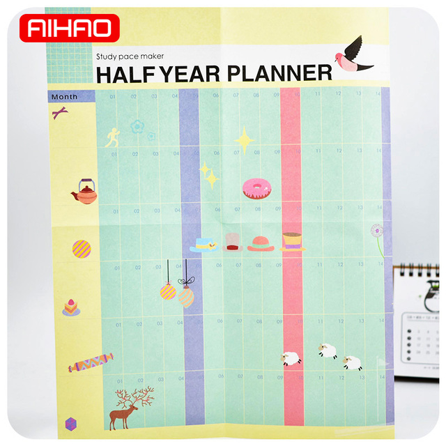 aihao student half year planner note book learning working plan