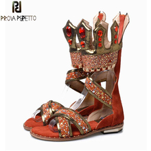 Prova Perfetto Mixed Color Rhinestone Gladiator Sandal Women Summer New Flat Dress Shoes Woman Crystal Leisure Short Boots Mujer