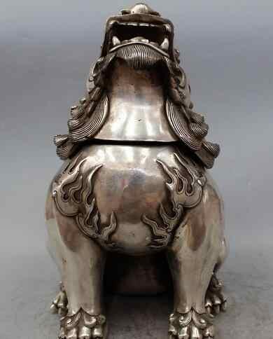 """14 """"จีนซิลเวอร์การ์เดียนฟูFuสุนัขประตูสิงโตสัตว์ยูนิคอร์นรูปปั้นประติมากรรม"""
