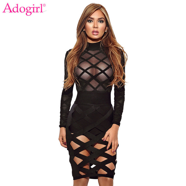 Adogirl Women Summer Dress Crisscross Hollow Out Sheer Long Sleeve Bandage  Mini Club Party Dresses Female Costumes Sexy Clothes 34b855ce71d7