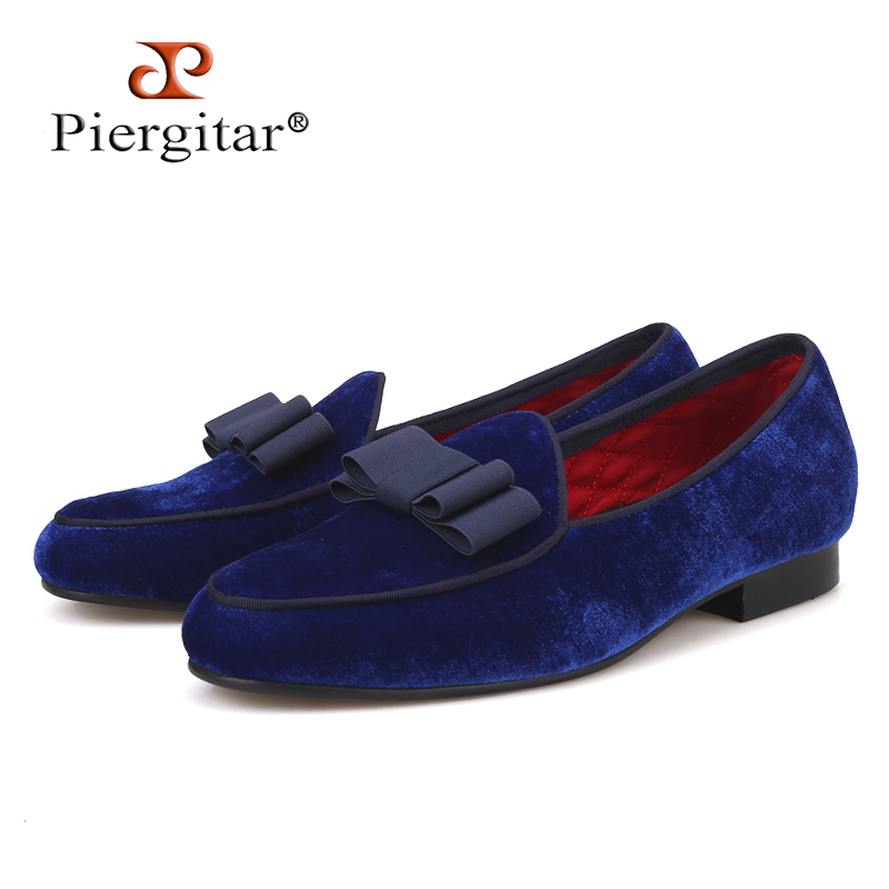 Piergitar Royal blue velvet Handmade men shoes with navy Bowtie Fashion Prom and Wedding men dress loafers Plus size male's flat adjustable shoulder straps handmade crochet dress navy blue and royal blue girl tutu dress
