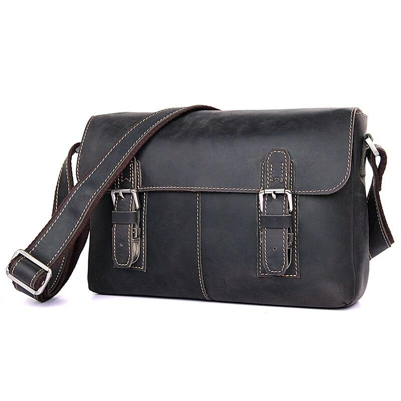 Augus Crazy Horse Leather Bag Men's Shoulder Bag Hot Selling Messenger Bag Vintage And Durable Crossbody Bag  6002J