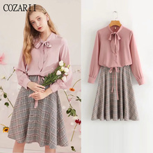 цена COZARII 2 pieces set women bow striped sashes skirt and women sweet style solid single breasted womens tops and blouses в интернет-магазинах