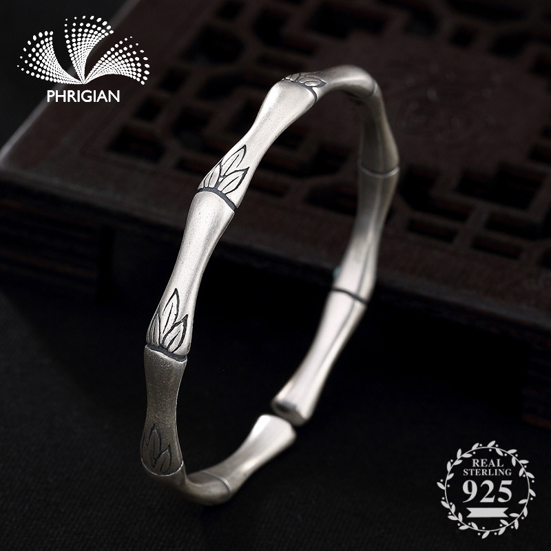 S990 Fine Jewelry Bangle Solid sterling silver women open adjustable vintage retro S925 925 luxury handmade bamboo leaf natureS990 Fine Jewelry Bangle Solid sterling silver women open adjustable vintage retro S925 925 luxury handmade bamboo leaf nature