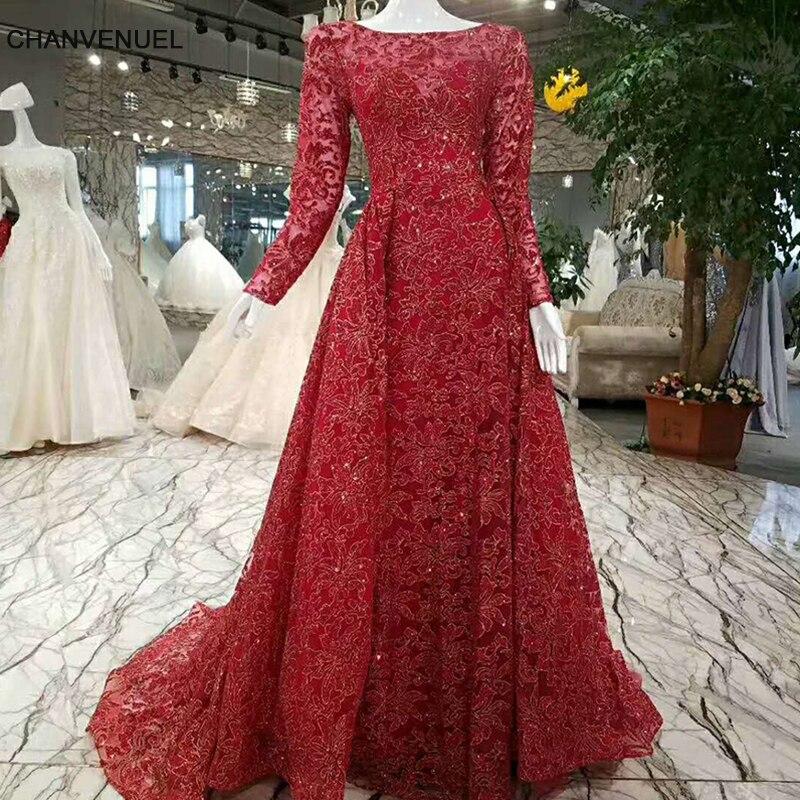 LSS009 Shiny red   evening     dress   long sleeve zipper back A line formal   dress   vestido longo de festa real photo