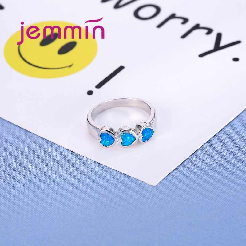 Three Hearts Shaped Ocean Blue Opal Ring 925 Sterling Silver Silver Color Jewelry Rings For Women & Girl Engagement Jewelry.