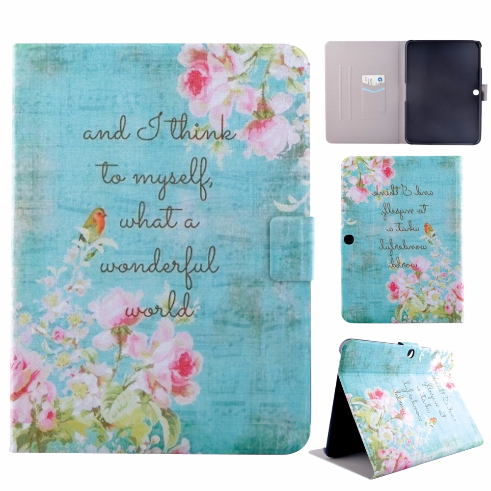 Tablet Painted PU Leather Case for Samsung Galaxy Tab 3 10.1 P5200 P5210 P5220 Tab3 Cover Housing Holder Stand Bag Shield Shell