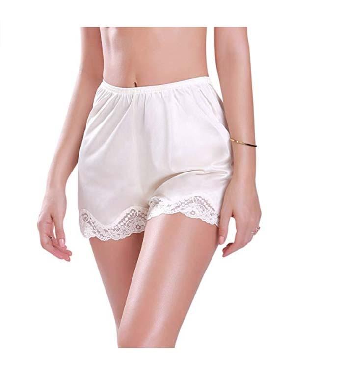 Women\\\'S Sleep Bottoms Summer Floral Lace Premium Nylon Daywear Bloomer Slip Shorts With Lace Trim M-XXXL