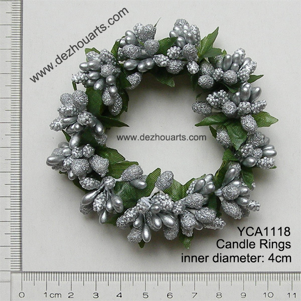 silver berry candle rings christmas candle rings decoration - Decorative Christmas Candle Rings
