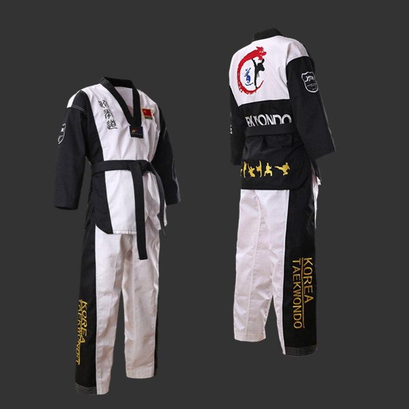 цена на 3 color Taekwondo Dobok V neck Uniform black collar adult Children Teenagers TKD Poomsae red blue tae kwon do black clothes WTF