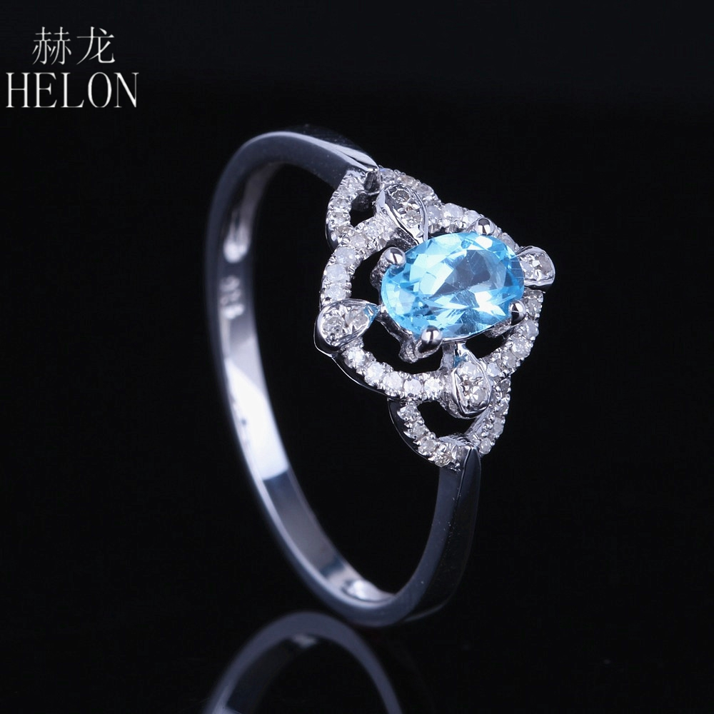 HELON Genuine Natural Diamond Ring 925 Sterling Silver Oval Cut 4x6mm Blue Topaz Gemstone Ring Wedding Women Trendy Fine Jewelry helon sterling silver 925 flawless 11x9mm emerald cut 4 36ct real blue topaz natural diamond engagment wedding ring fine jewelry
