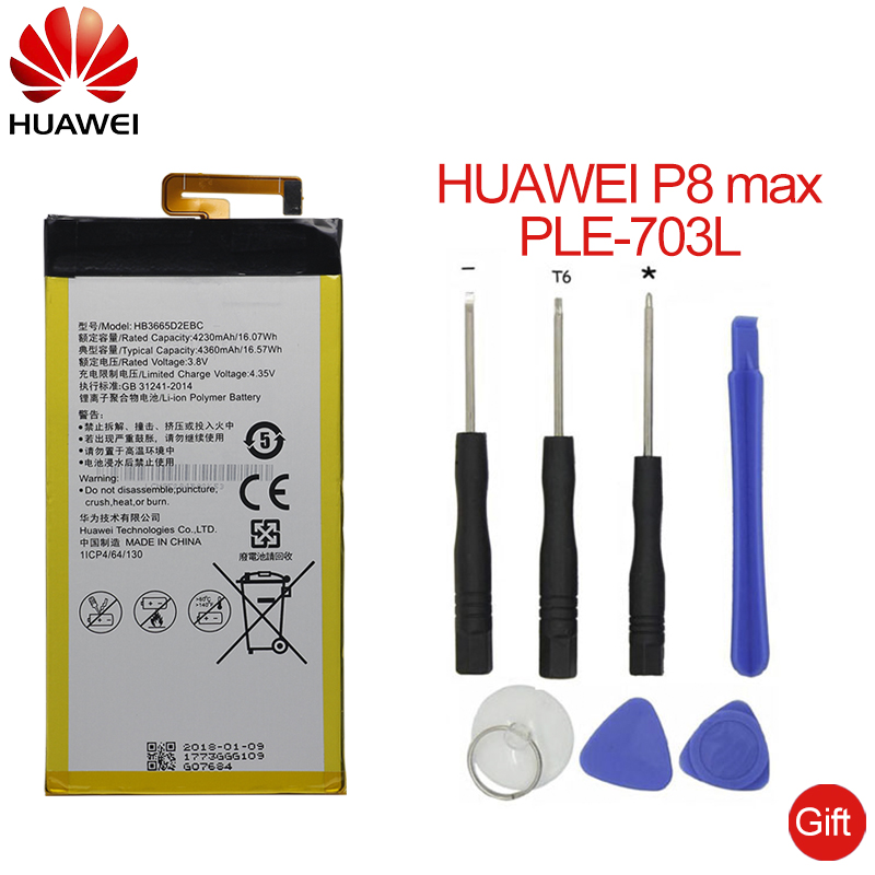 Hua Wei Original Replacement Phone Battery HB3665D2EBC For Huawei P8 Max 4G W0E13 T40 P8MAX 4230mah