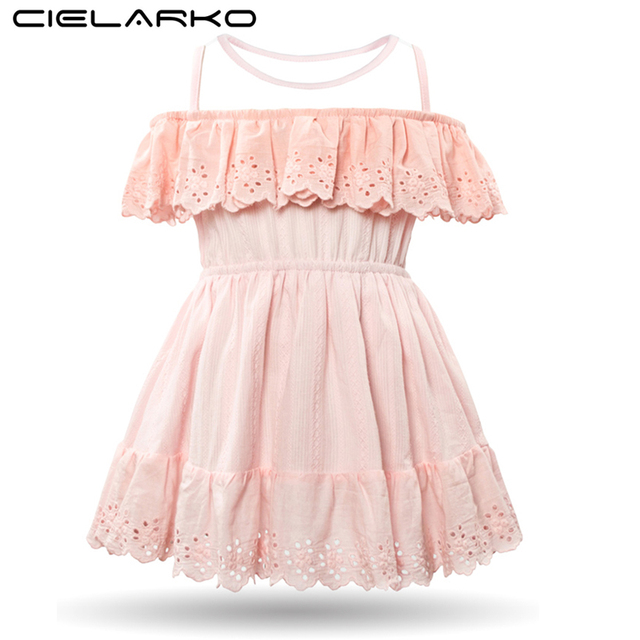 1a1cf0325fd9 Cielarko Girls Dress Sleeveless Mesh Baby Dresses Pink Princess Lace ...