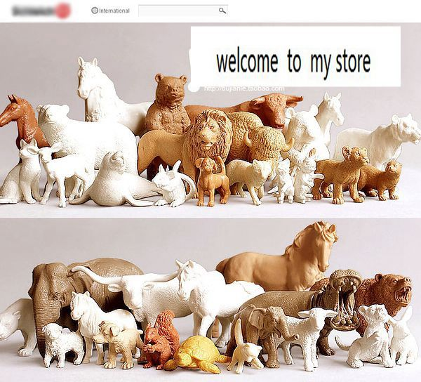 pvc figure Genuine simulation model toy white horses for DIY 500G