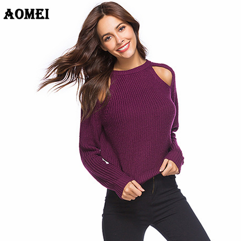 Sweater Cold Shoulder Tops Hollow Out Korean Knit Elegant Stretch Autumn Fashion Blue Knitted Pullover Femme Jumper Women Cothes