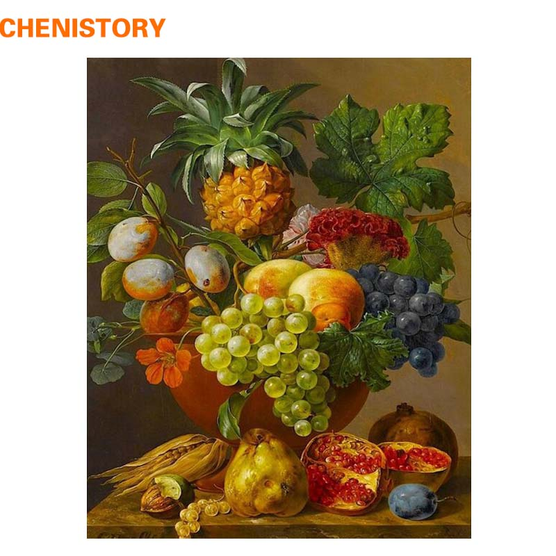 CHENISTORY Fruit Basket Picture Diy Digital Painting By Numbers Europe Home Wall Artwork Canvas Painting For Room Decoration