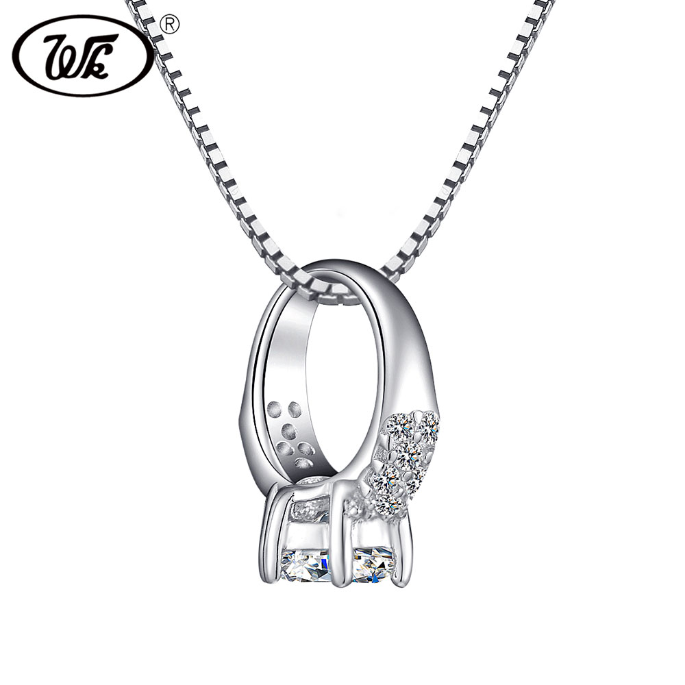 WK NEW Beautiful Women 925 Sterling Silver Pendant Necklace Jewelry Gift For Lovers Anniversary Engagement Wedding Gift OW NB039