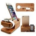 Universal de madera de bambú natural sostenedor del soporte de escritorio del muelle del cargador estación de acoplamiento para apple watch para iphone 6/6 s 38mm 42mm