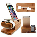 Universal natural de madeira de bambu titular suporte de mesa docking station carregador dock para apple watch para iphone 6/6 s 38mm 42mm