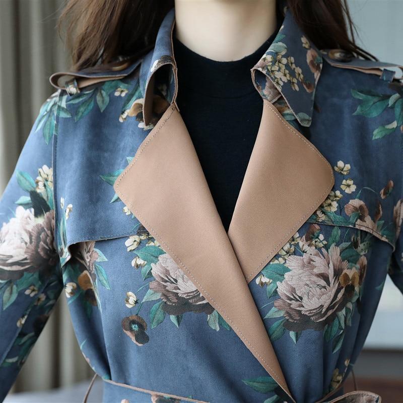 Automne Impression Fashion215 Femelle Mi vent blue Tempérament pink Coupe Printemps Veste 3xl Nouveau 2018 M Khaki Grande Mince Manteau Longue Taille f8xwgpwq