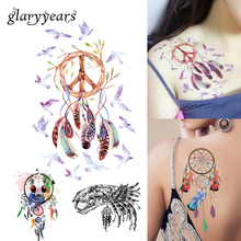 1 Sheet Dreamcatcher Decal 14 Designs Waterproof DIY Tattoo Sticker Women Body Art Dream Catcher Indian Feather Temporary Tattoo