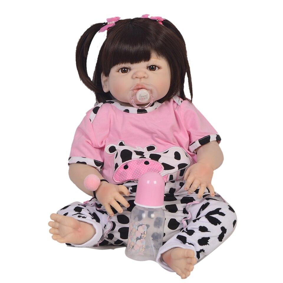 DollMai 23 pouces 57 cm corps complet Silicone Reborn bébé fille poupées Reborn peut bain Bebe vrais Reborn bébés poupées pour enfants Juguete
