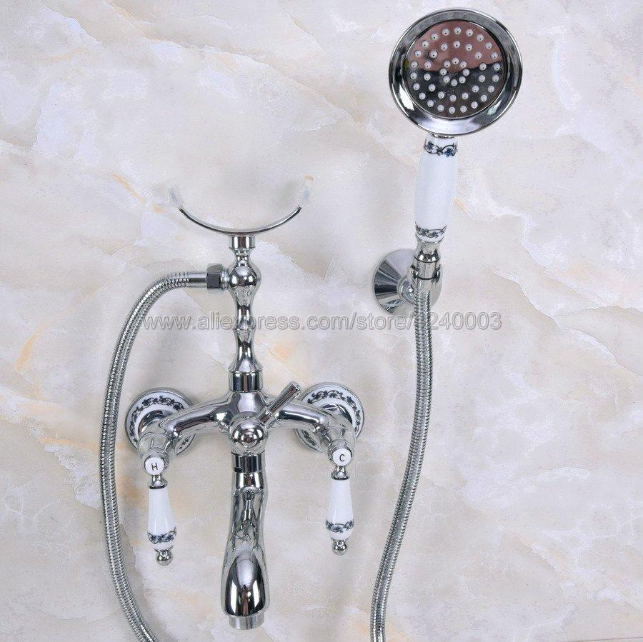 купить Bathtub Faucets Wall Mounted Chrome Brass Bathtub Faucet With Hand Shower Bathroom Bath Shower Faucets Kna243 по цене 4525.91 рублей