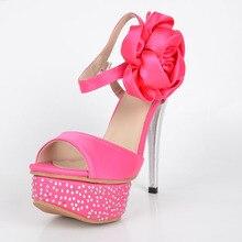 Pink Satin Sandals Shoes Women Plus Size Wedding Party Foot Wear High Heel Stiletto Platform Side Flower Ankle Strap Summer Shoe
