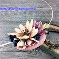 Boda Fascinator Sombrero De La Novia Flor de Loto De Seda Sentía Tapa Sombrerería Sombrero de Lino 15 Cm Rosa Coreano Mujeres Fascinator de la pluma horquilla