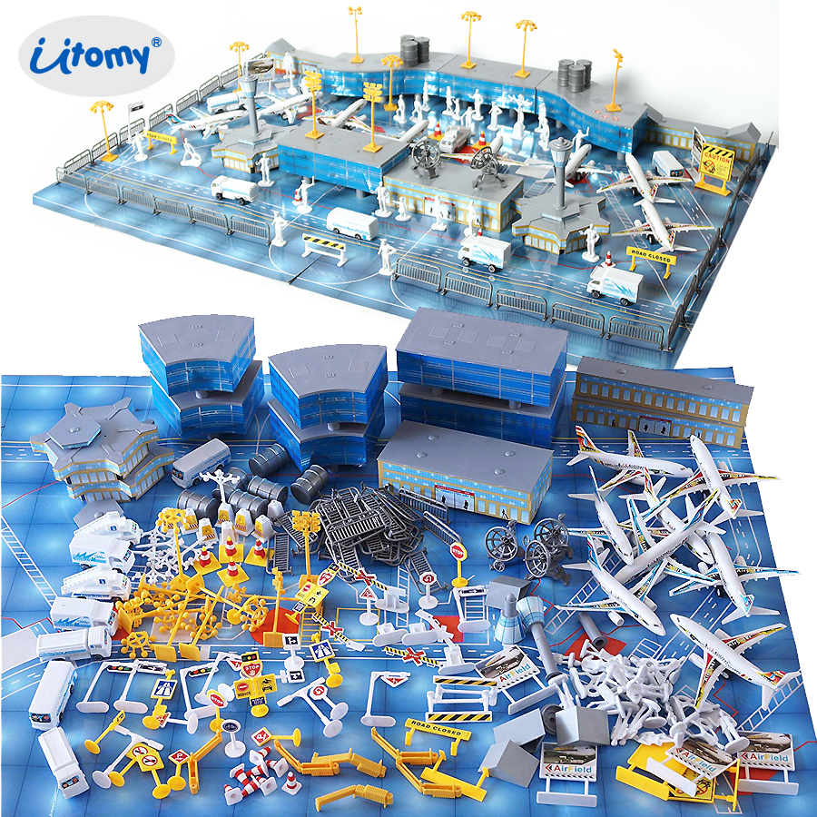 Toy Model-Kit Aircraft-Model Planes Vehicles Simulated Playset Airport International
