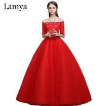 LAMYA Vintage barco rojo cuello Vestidos De boda con mangas cortas 2019 vestido De encaje Vestidos De novia tienda al por menor alibaba
