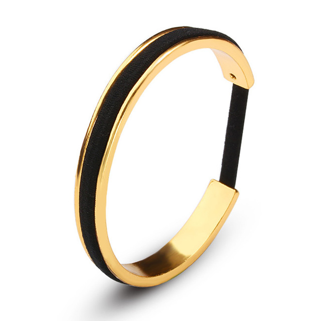 Black Hair Tie Bracelets Rose Gold Color Silver Color Open Cuff Bangles For  Women Men Jewelry ed6f71d1aa7