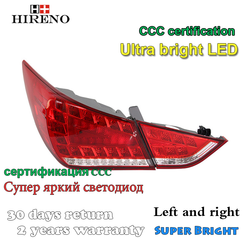 Hireno Tail Lamp for Hyundai Sonata 2010 2011 2012 2013 2014 LED Taillight Rear Lamp Parking Brake Turn Signal Lights car rear trunk security shield shade cargo cover for hyundai tucson 2006 2007 2008 2009 2010 2011 2012 2013 2014 black beige