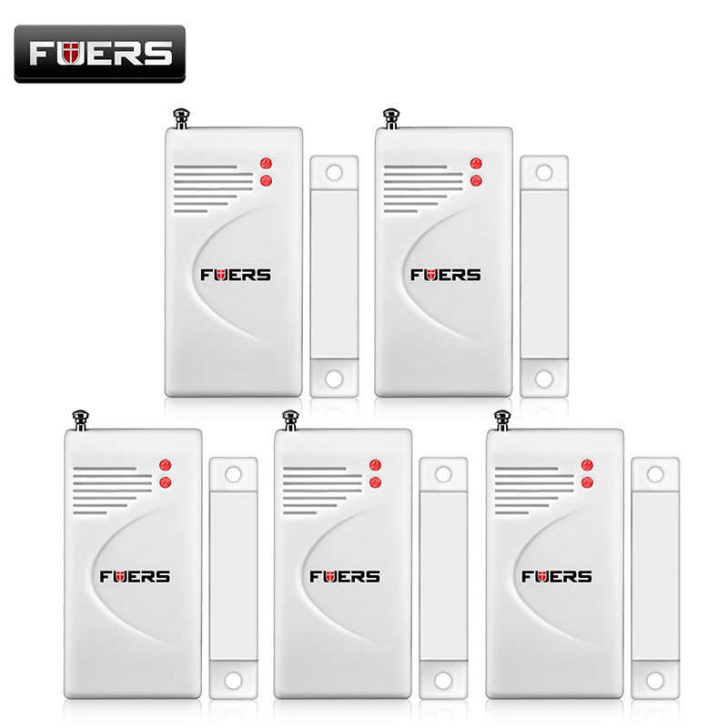 Fuers 5pcs/ Lot 433 Mhz Door Contact Wireless Door Window Magnet Entry Detector Sensor (Battery Included)