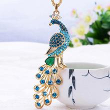 Bling-World Fashion Women's Crystal Rhinestone Peacock Pendant Necklace for Women Lady Jewelry Delicate bohemian necklace