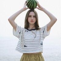Summer New Women S Short Sleeved Short T Shirt Cute Stripes Ulzzang Harajuku Tshirts Cotton Tee