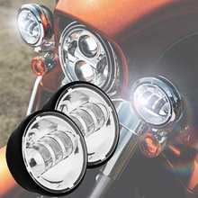FADUIES 2PSC Chrome 4.5 inch LED Passing Light LED fog Lamps for Harley Motorcycles FLHTCU Ultra Classic Electra Glide(China)