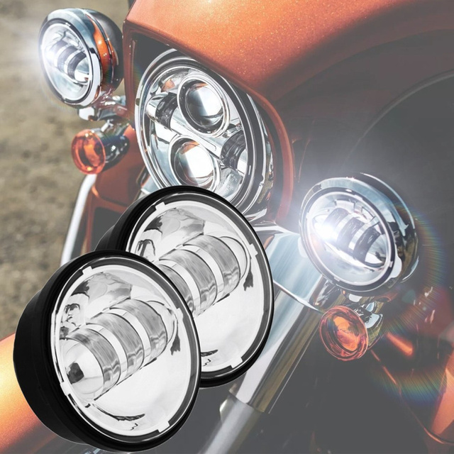 FADUIES 2PSC Chrome 4.5 inch LED Passing Light LED fog Lamps for Harley Motorcycles FLHTCU Ultra Classic Electra Glide